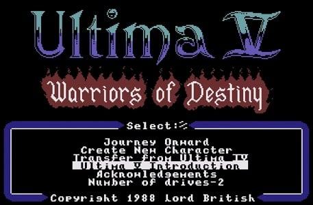 Ultima V Warriors of Destiny facts